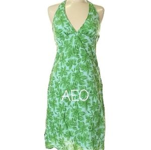 AEO HALTER DRESS WITH GREEN LEAVES, SIZE 8